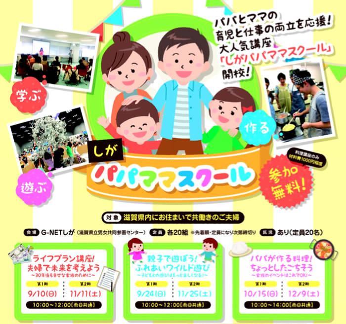【募集中】H29年9~12月滋賀県にて「しがパパスクール」を実施します!