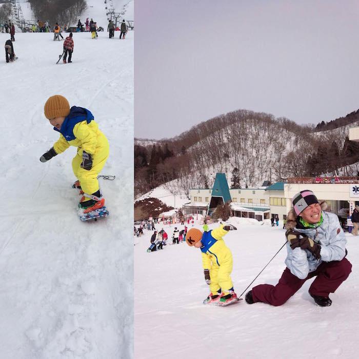 子どもをスノーボードに転身させる
